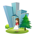 A woman outside the office vector