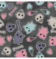 Skulls and hearts on black background - seamless vector