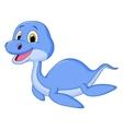 Cute dinosaur cartoon swimming vector