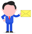 Businessman holding mail envelope vector