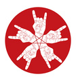 Five rock hands abstract symbol with five point vector
