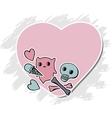 Skulls ice cream and hearts on grunge background vector