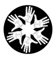 Six open hands abstract symbol detailed black and vector