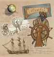 Pirates - navigation at sea hand drawn and mixed vector