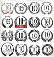 10 years anniversary laurel wreaths vector
