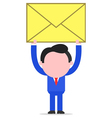 Businessman raising mail envelope vector