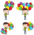 Cute boy with color balloons vector
