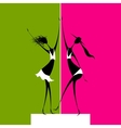 Girls dancing on scene vector
