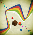 Flying cubes and ribbons vector