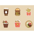 Fast food icons set high detailed color vector