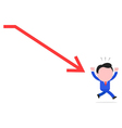 Businessman running away from red arrow sign vector
