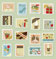 Large set of postage stamps vector