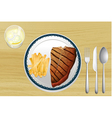 Steak and french fries vector
