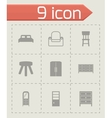 Black furniture icons set vector