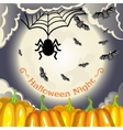 Halloween background with pumpkins moon and bats vector