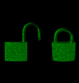Locked and unlocked padlock from binary numbers vector