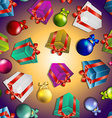New year pattern with gifts and christmas tree vector