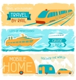 Set of horizontal travel banners in retro style vector