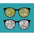 Retro sunglasses with baby reflection in it vector