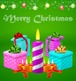 Christmas postcard with colorful gift boxes vector