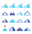 Mountains blue icons set vector