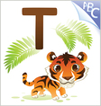 Animal alphabet for the kids t for the tiger vector