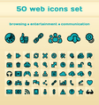 50 blue web icons set vector