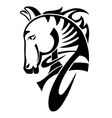 Digital drawing of black tribal head horse vector