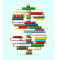 Dollar sign from stacks of multi colored books vector