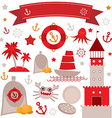 Vintage scrap nautical set cute sea objects red vector