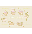 Sweet dessert set background vector
