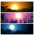 Tropical banners set landscape sun moon and palm vector