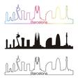 Barcelona skyline linear style with rainbow vector