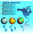 North america map on blue background vector