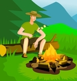 Relaxing man near campfire vector