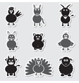 Farm animals simple stickers set eps10 vector