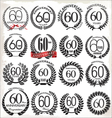 60 years anniversary laurel wreaths vector