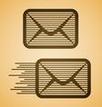 Striped e-mail envelope icon vector