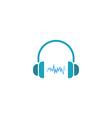 Headphones dj logo sound wave of music icon vector