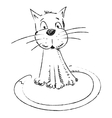 Funny cat sketch style drawing vector
