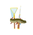 Fishing rod net and pike vector