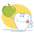 Tooth character holding up a green apple vector