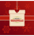 Christmas gift label on red embossed snowflakes vector