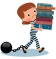 Girl schoolgirl prisoner with books in their hands vector
