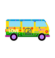 Hippie minibus icon vector