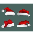 Various christmas caps collection vector