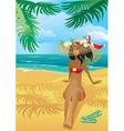 Girl on a tropical beach vector