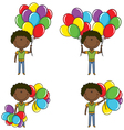 African-american boys with color balloons vector