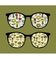 Retro sunglasses with flowers reflection in it vector