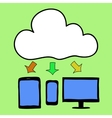 Cartoon style cloud computing vector